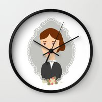 virginia Wall Clocks featuring Virginia Woolf by Creo tu mundo