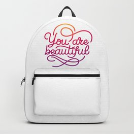 You are beautiful hand made lettering motivational quote in original calligraphic style Backpack
