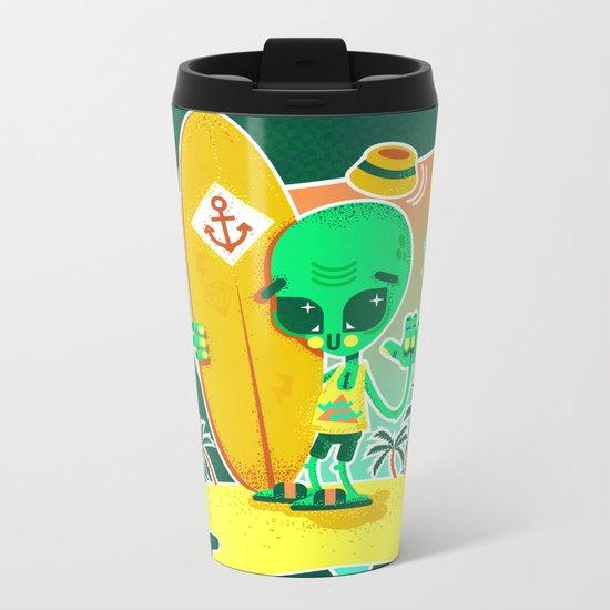 Alien Surfer Nineties Pattern Metal Travel Mug