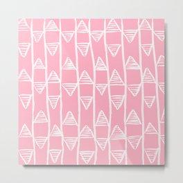 Pink Pyramids Pattern Metal Print