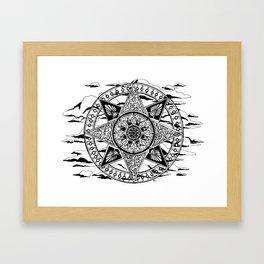 Wheel in the Sky Mandala Framed Art Print