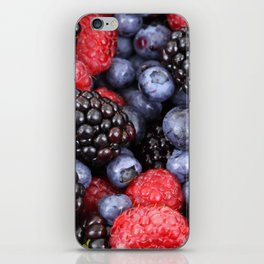 Summer raspberry, blueberry and blackberry berry pattern iPhone Skin