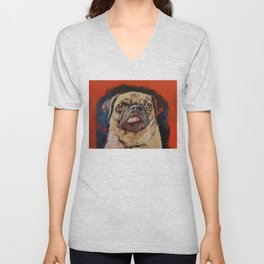 Pug Portrait Unisex V-Neck