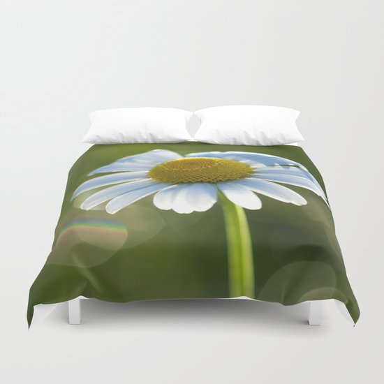 Daisy after rain at backlight Duvet Cover