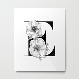 Monogram Letter E with Anemone Line Art Metal Print