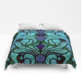 Aqua Green and Blue Art Nouveau Stained Glass Design Comforters
