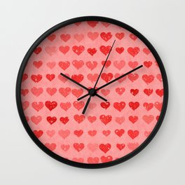 Pink Valentines Love Hearts Wall Clock
