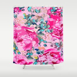 Pink floral work with some turquoise and yellow details Shower Curtain