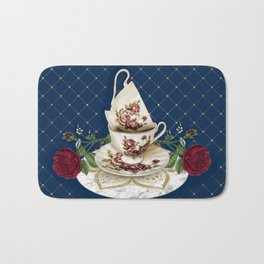 Vintage Rose Tea Cups Bath Mat