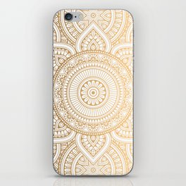 Gold Mandala Pattern Illustration With White Shimmer iPhone Skin