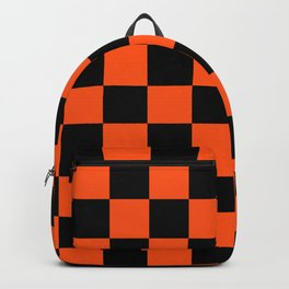 Black and Orange Checkerboard Pattern Backpack