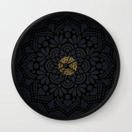 """Black & Gold Arabesque Mandala"" Wall Clock"