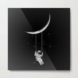 Moon Swing funny galaxy Metal Print