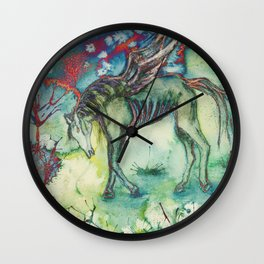 Psychedelic horse in desolated landscape Wall Clock