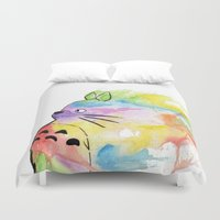 rainbow Duvet Covers featuring My Rainbow Totoro by scoobtoobins