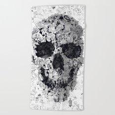 Doodle Skull BW Beach Towel