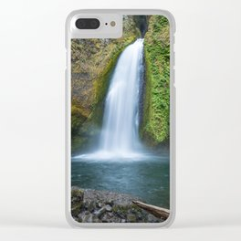 Wahclella Falls in the Columbia River Gorge, Oregon - Taken Same Day the Eagle Creek Fire Started Clear iPhone Case