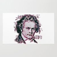 beethoven Area & Throw Rugs featuring Beethoven by Zandonai