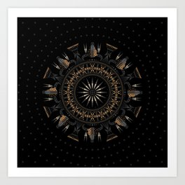 Buffalo Skull and Feathers (Brown) Art Print