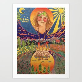 Janis 60s colorful psychedelic poster- prismacolor markers Art Print