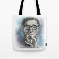 woody allen Tote Bags featuring Woody Allen by Magdalena Almero