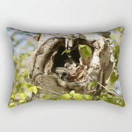 2 barred owl babies in the nest Rectangular Pillow