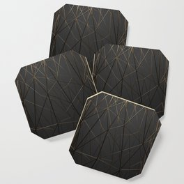 Golden Wireframe Triangles Coaster