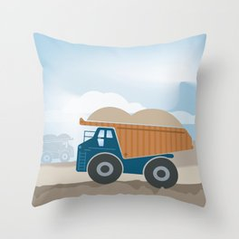 Dump Truck Full Color Throw Pillow