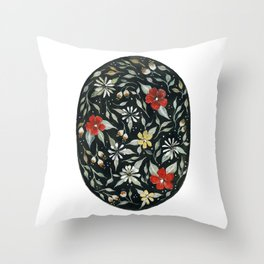 Southwest Style Oval Floral Gouache Painting Throw Pillow