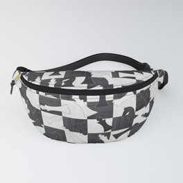 Chess Figures Pattern - Wood black and white Fanny Pack