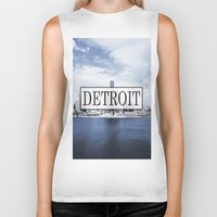 detroit Biker Tanks featuring Detroit Typography by Evan Smith