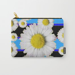 Blue Shasta Daisy's Black Color Art Carry-All Pouch