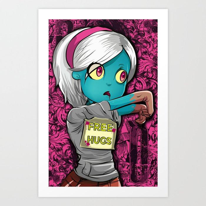 Free Hugs Walking Dead Zombie Girl Art Print