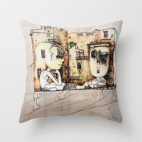 kids Throw Pillows featuring Kids by Andreas Derebucha