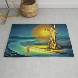 The Guiding Light, magical realism river landscape painting Rug