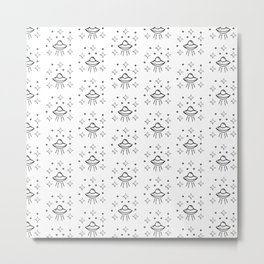 Spaceship Pattern in white Metal Print