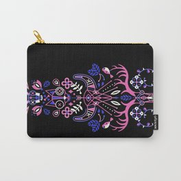 La Vie & La Mort – Pink & Periwinkle on Black Carry-All Pouch