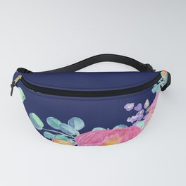 pink peonies with navy background Fanny Pack