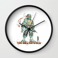 teenage mutant ninja turtles Wall Clocks featuring Michelangelo Teenage Mutant Ninja Turtles by Carma Zoe