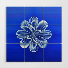 White Bloom on Blue Wood Wall Art