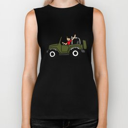 wrangler wave - military green - side view Biker Tank