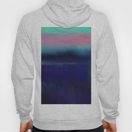 Lake View On A Foggy Morning In Blue, and Pink 2 Hoody