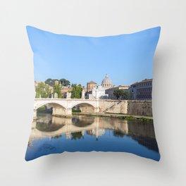 Emanuele II bridge and St. Peter's Basilica - Rome, Italy Throw Pillow