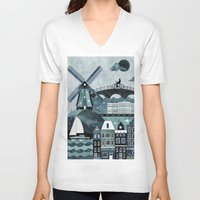 travel poster V-neck T-shirts featuring Amsterdam Travel Poster by ClaireIllustrations