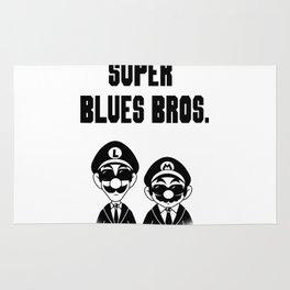 Super Blues Bros. (Black and White) Rug
