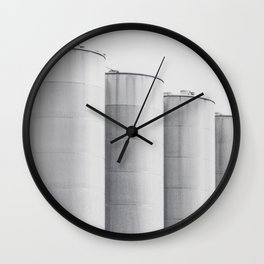 Industrial, architecture photography, fine art, black & white photo, b&w urban, man cave gift Wall Clock