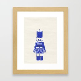 French toy soldier with drum, drawing with letterpress effect. Framed Art Print