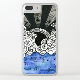 Black Rain Clear iPhone Case