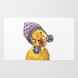 Baby Yellow Duck with Winter Hat Rug