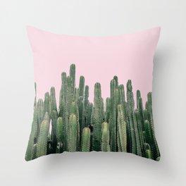 Pink Sky Cactus Throw Pillow